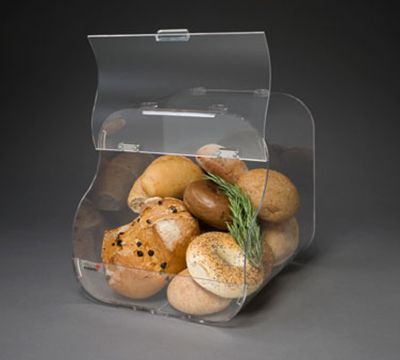 "Rosseto Serving Solutions BAK1203 Countertop Bakery Display Bin - Stackable, 11x11x12"" Acrylic, Clear"