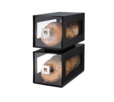 "Rosseto Serving Solutions BD101 2-Drawer Countertop Bakery Display Case - 11-3/4x6-1/4x13"" Acrylic/Black"