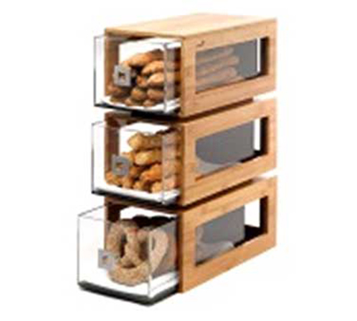 Rosseto Serving Solutions BD104 3-Drawer Pastry Display Base - Acrylic/Bamboo