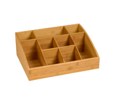 "Rosseto Serving Solutions SB103 9-Compartment Display Organizer - 16x12x6"" Bamboo"