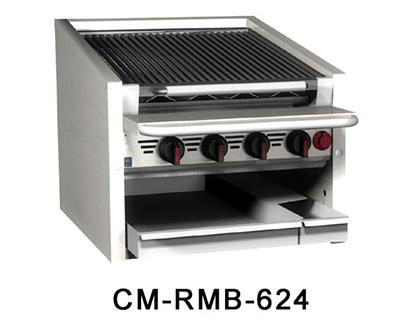 Magikitch'n CM-SMB-624 NG 24-in Counter Top Coal Charbroiler w/ Ceramic Briquettes & No Legs, NG