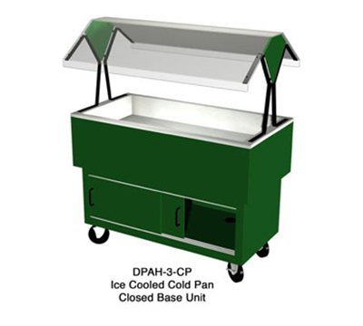Duke DPAH-4-CP 217127 EconoMate Cold Food Portable Buffet, 4 Sections, Clear Canopy, Fence Green
