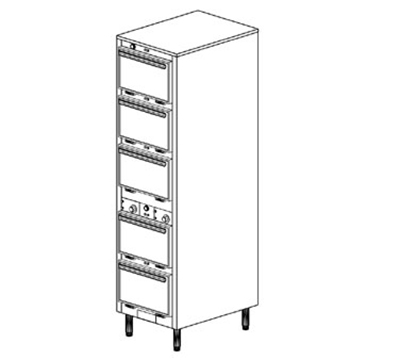 Duke 1305P 2081 Pass Thru Heated Holding Cabinet, 2-Thermostat Per 5-Compartment, Legs,