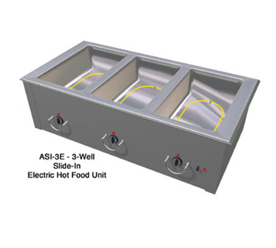 Duke ASI-6E2403 88.25-in Hot Food Slide In Unit w/ (6) 12x20-in Wells, Stainless Top, 240/3 V