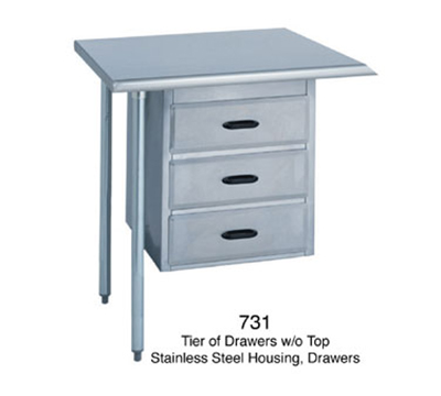 Duke 731 Tier Of 3-Drawers, All Stainless, Fac