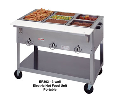 Duke EP303SW 2081 Portable Steamtable w/ 3-Sealed Hot Wells & Carving Board, 208/1 V