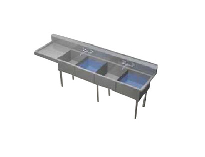 Duke JS1B2C24 Jumbo Sink, (3) Compartment, 24-in L & R Drainboard, 24 x 24 x 14.5-in