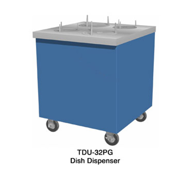 Duke TDU-32PG 217120 32-in Mobile Dish Dispenser Unit w/ Paint Grip Enclosed Body, Sky Blue