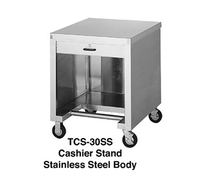 Duke TCS-30SS 30-in Mobile Cashier Stand w/ Stainless Top, Body, Undershelf & Foot Rest