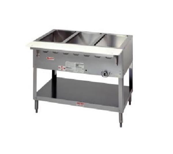 Duke WB304 LP Aerohot Steamtable Wet Bath Unit, 4 Pans & Carving Board, LP