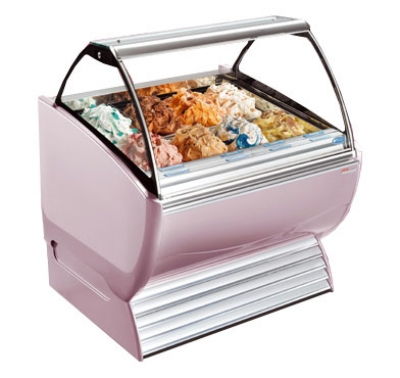 Stoelting ND 12-38 SILV Gelato Display Cabinet w/ Curved Front, Holds 12-Pans, 208-230/1 V, Silver