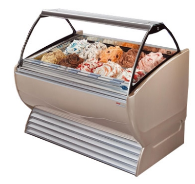 Stoelting ND 16-302 SILV Gelato Display Cabinet w/ Curved Front, Holds 16-Pans, Export, Silver