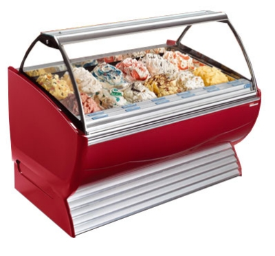 Stoelting ND 18-302 SILV Gelato Display Cabinet w/ Curved Front, Holds 18-Pans, Export, Silver