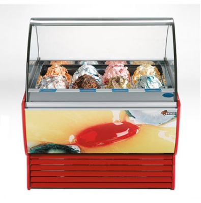 Stoelting SPRINT 12-38 RED 12-Pan Sprint Gelato Display Cabinet w/ Side Panel, 208-230/1 V, Red