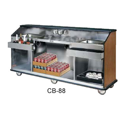 FWE - Food Warming Equipment CB-66 793838 Conventional Portable Bar, 74in L, Wraparound Bumper, New Age Oak.