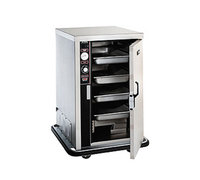 FWE - Food Warming Equipment PS-1220-6-6 120 Mobile Heated Cabinet w/ Split Cavity, 4/Each-Pan Capacity, Stainless, 12