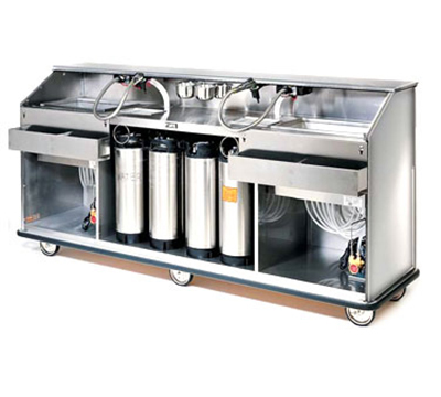 FWE - Food Warming Equipment SBBC-88 Mobile Bar w/ 60LB Capacity Ice Bin, 98-in L, Full-Bumper, Stainless