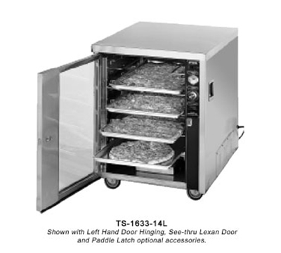FWE - Food Warming Equipment TS-1633-14 120 Mobile Heated Pizza Cabinet w/ 1-Shelf, 14-Box/Pan Cap., Stainless, 120V