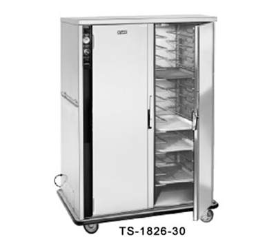 FWE - Food Warming Equipment TS-1826-24220 Mobile Heated Cabinet, 2-Sections, 16-Pair Univer. Tray Slides, Stainless, 2