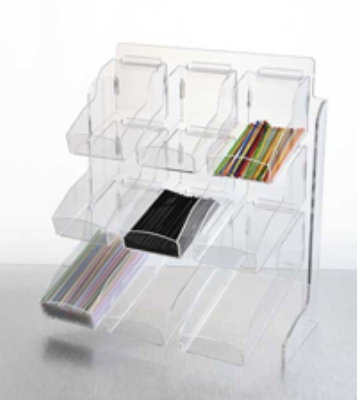 Jule-Art 880-1900 Freestanding Display w/ 9-Removable Condiment Bins, Clear Acrylic