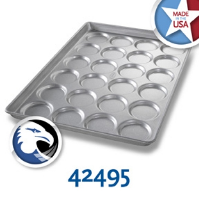 Chicago Metallic 42495 Hamburger Muffin Cookie Pan, 4-Rows