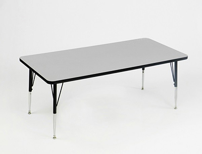 Correll AM2460-REC 15 Rectangular Activity Table w/ Melamine Top, 24x60-in, Gray Granite