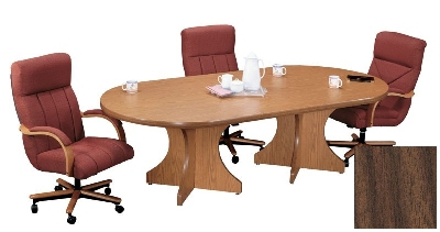 Correll C3672POX 01 Race Track Conference Table w/ 1.87-in High Pressure Top, 36 x 72-in, Walnut