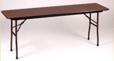"Correll CF1872P Folding Table w/ 5/8"" Walnut High-Pressure Top, 18x72"""