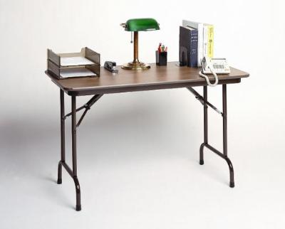 Correll CF2448M 01 Folding Table w/ Walnut Melamine Top, 24 x 48-in