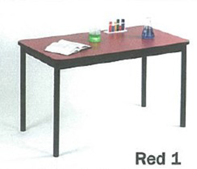 Correll LT2472 35 Economical Lab Table w/ Wear Resistant Surface & T Mold Edge, 24x72-in, Red