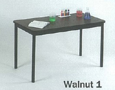 Correll LT2460 01 Economical Lab Table w/ Wear Resistant Surface & T Mold Edge, 24x60-in, Walnut