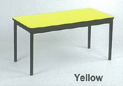 Correll LT2460 38 Economical Lab Table w/ Wear Resistant Surface & T Mold Edge, 24x60-in, Yellow