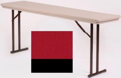 Correll RA2448 25 Folding Seminar Table w/ Blow-Molded Top, Adjusts To 32-in H, 24 x 48-in, Red