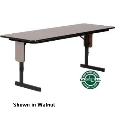 Correll SPA2496PX 06 24 x 96-in Panel Leg Seminar and Training Table, Adjusts to 32-in H, Oak/Black