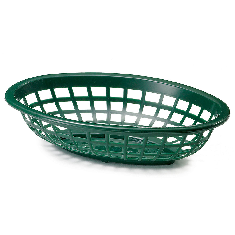 Tablecraft 1071FG Oval Side Order Basket, 7.73 x 5.5 x 1-7/8-in, Forest Green