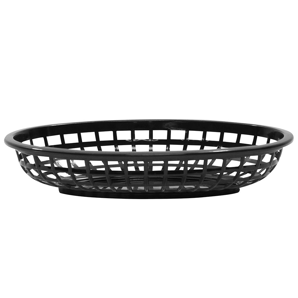 Tablecraft 1074BK Classic Basket, 9-3/8 x 6 x 1-7/8-in, Polyethylene, Oval, Black