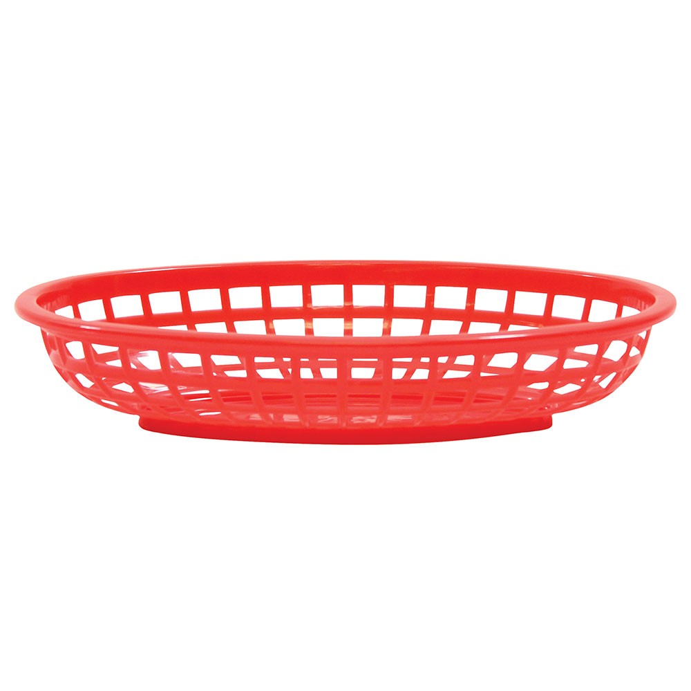 Tablecraft 1074R Classic Basket, 9-3/8 in x 6 in x 1-7/8 in, Oval, Poly, Red