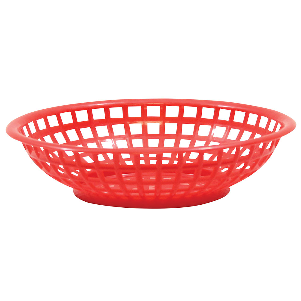Tablecraft 1075R Round Serving Basket, 8 x 2-3/8-in, Poly, Red