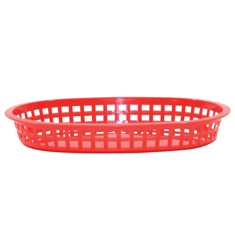 Tablecraft 1076R Chicago Platter Basket, 10.5 x 7 x 1.5-in, Oval, Red