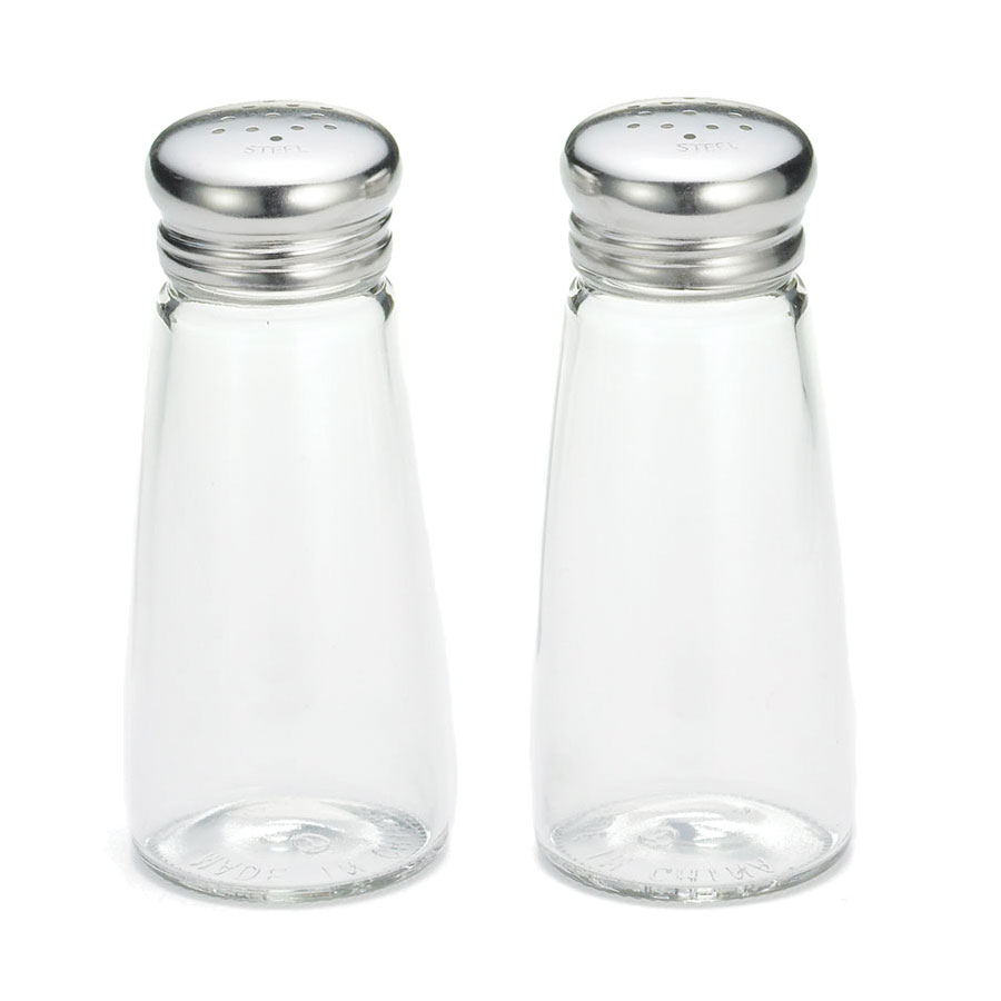 Tablecraft 132S&P-2 3-oz Round Salt & Pepper Shakers w/ Stainless Steel Tops