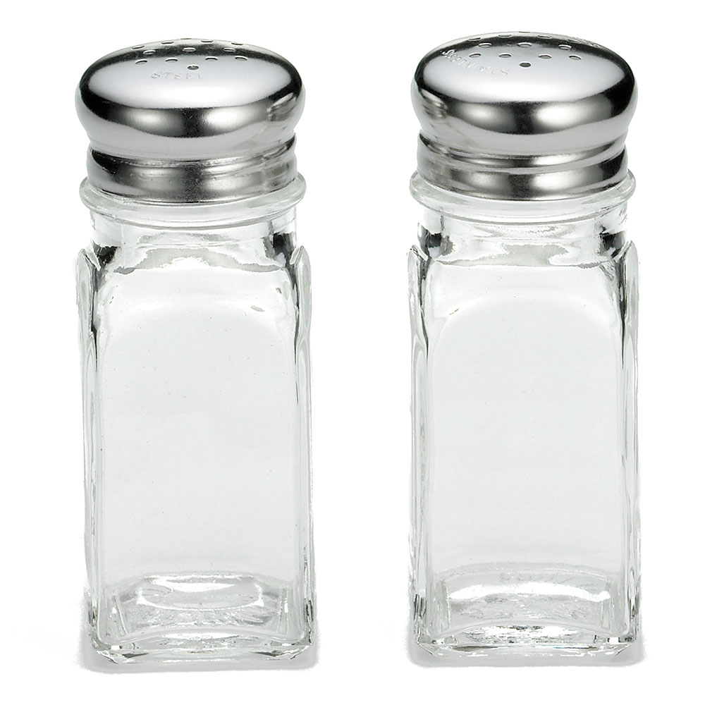 Tablecraft 154S&P 2-oz Salt Pepper Shakers, Stainless Steel Top, Dozen
