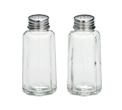 Tablecraft 157S&P-2 2-oz Paneled Glass Salt & Pepper Shaker w/ Flat Stainless Top