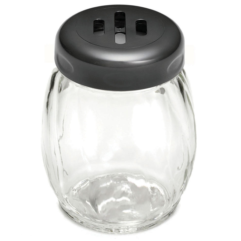 Tablecraft 260SLBK 6-oz Swirl Glass Cheese Shaker w/ Slotted Plastic Top, Black