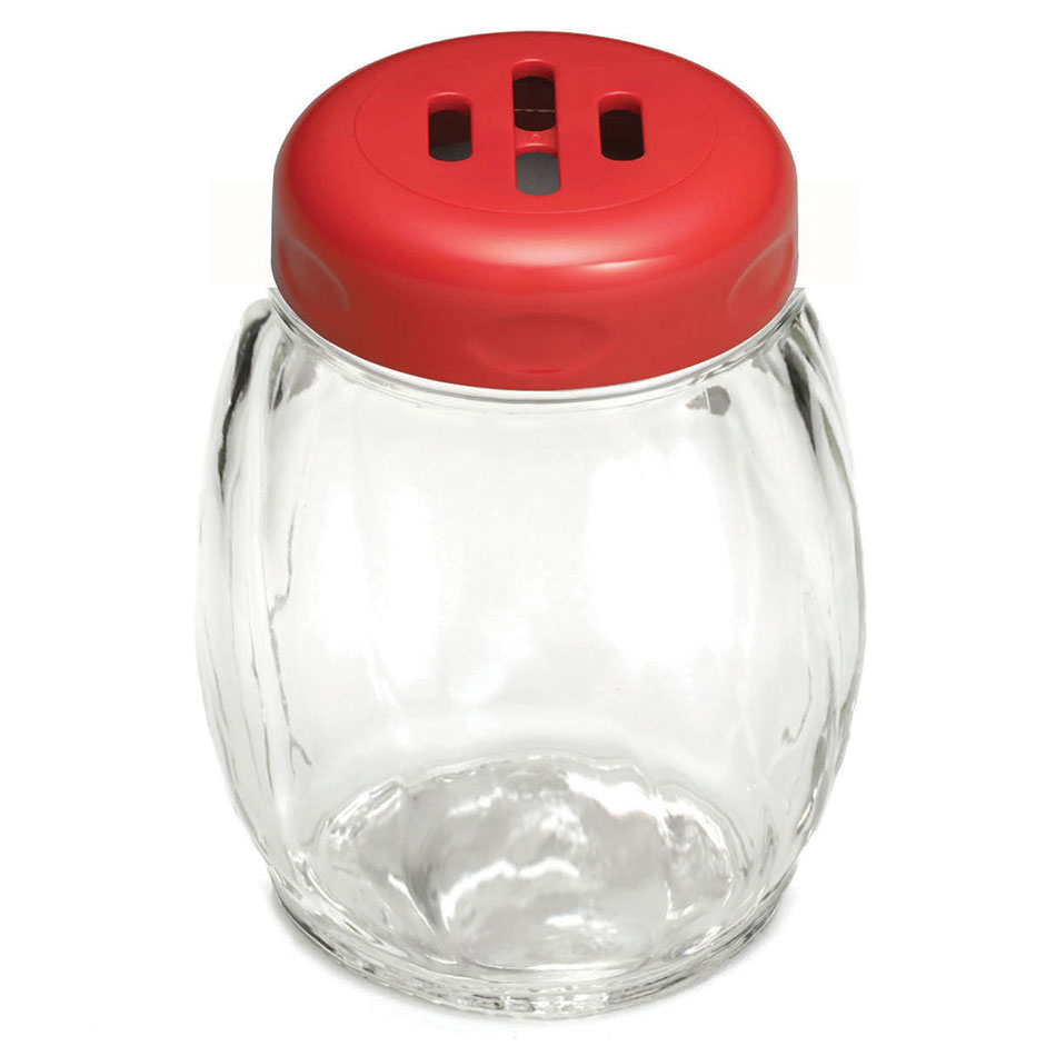 Tablecraft 260SLRE 6-oz Swirl Glass Shaker w/ Slotted Plastic Top, Red