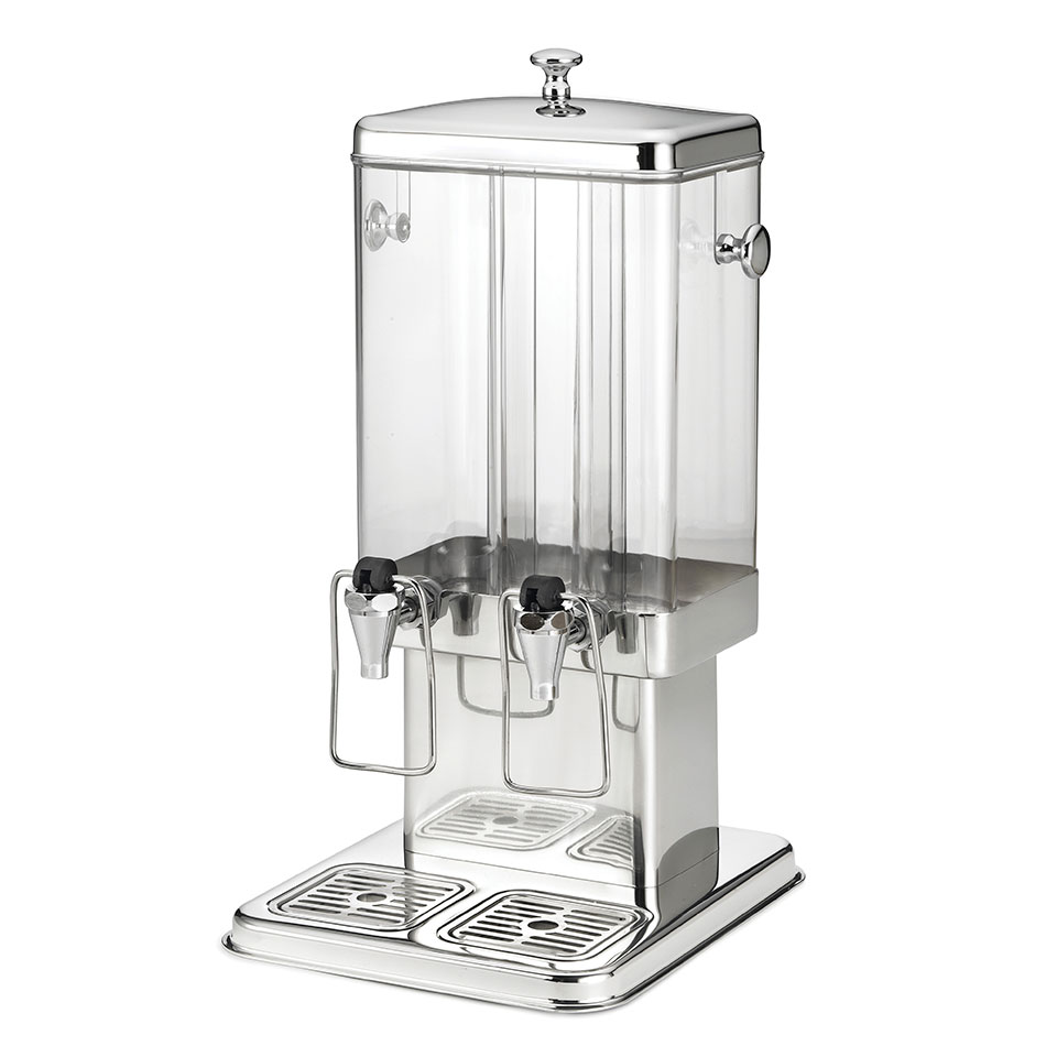 Tablecraft 70 3 Gal Beverage Dispenser, 2 Reservoirs, Polycarbonate w/ Stainless Steel Base