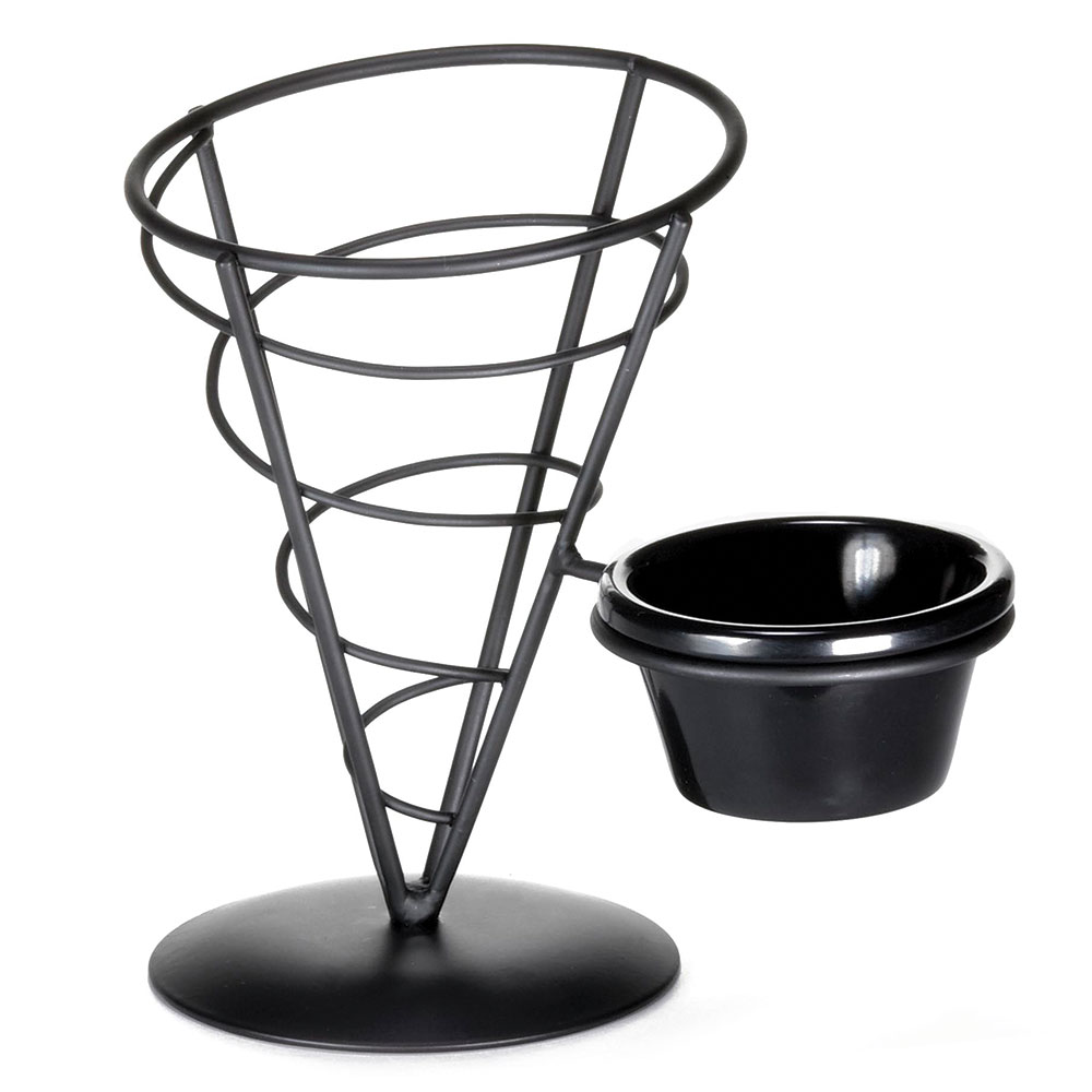 Tablecraft ACR57 Vertigo Collection Appetizer Cone w/ Ramekin, 5 x 7 in, Black Meta