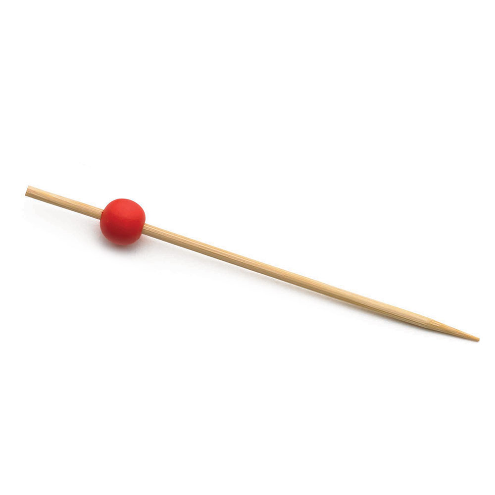 """Tablecraft BAMBR45 4.5"""" Bamboo Pick w/ Red"""