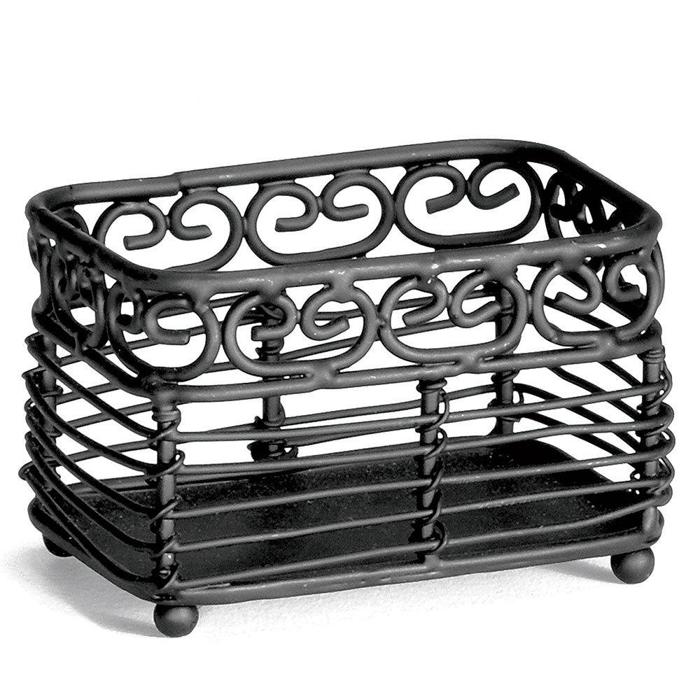 Tablecraft BK256 Rectangle Mediterranean Sugar Packet Holder, Black Metal