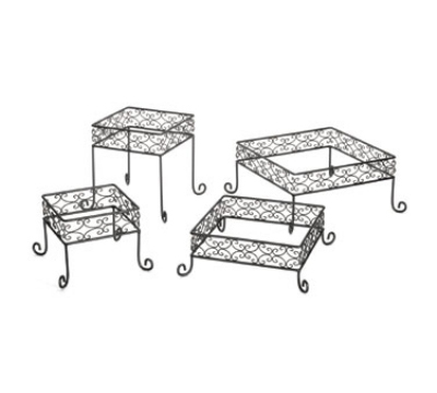 Tablecraft BK2RS Square 4 Piece Riser, One Each 12 & 10 & 8 & 7 in Dia, Black Metal