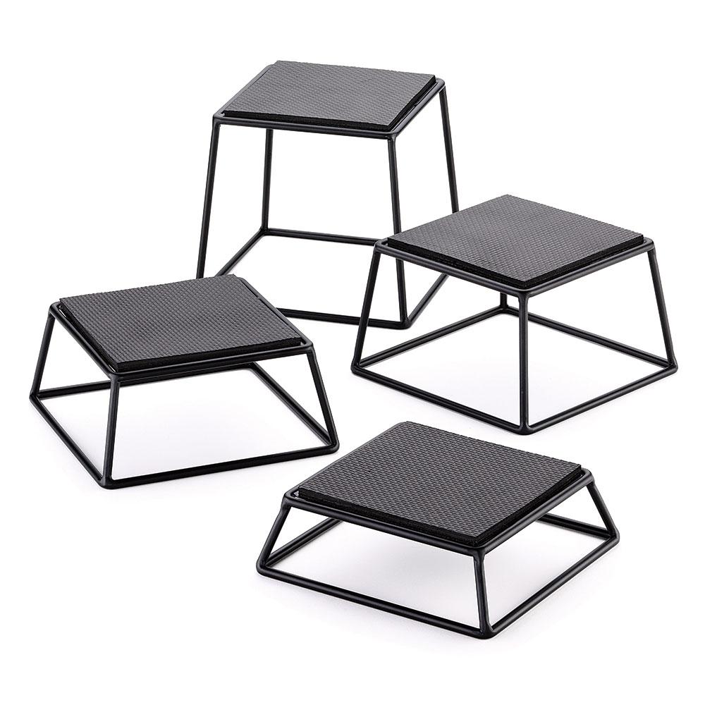 Tablecraft BKR4 4-Piece Rectangular Metal Riser Set w/ Non-Slip Rubber Tops, Black